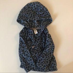 Carters Blue Black Leopard zipup fleece baby 18 mo